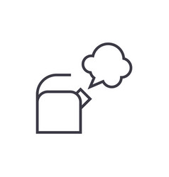 kettle with steam line icon sign vector image