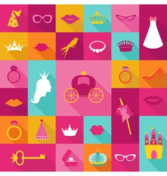 Priness Flat Icons Set - crown lips rings hats vector image
