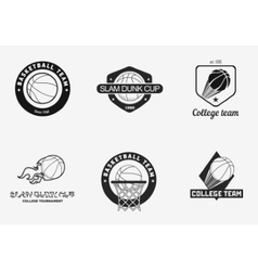 Set of vintage basketball championship logos and vector image