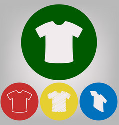 t-shirt sign 4 white styles of icon at 4 vector image vector image