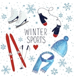 Winter sports and activities vector image