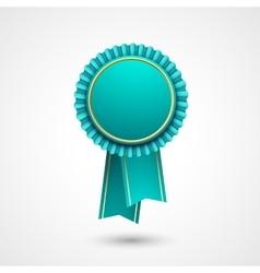 Blue and gold badge with ribbons award vector image