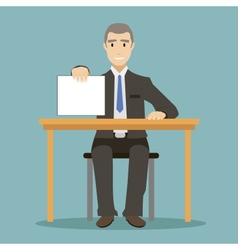 flat design style businessman sitting at table vector image vector image