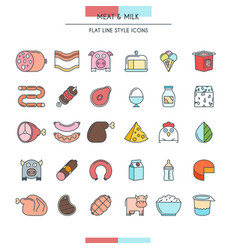 meat and milk icons vector image