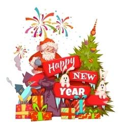 Merry Christmas banner with Santa Claus ribbon vector image