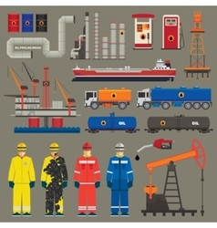 Oil industry set with pipeline brush vector image vector image