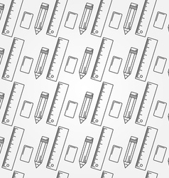 Seamless School Office Supplies Pattern Thin line vector image