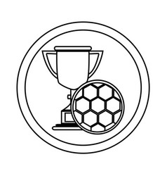 silhouette circular frame with trophy with soccer vector image vector image