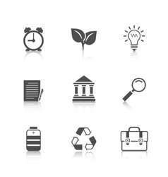 Flat Icons Set with Reflection vector image