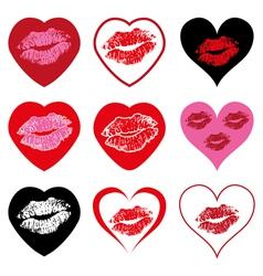 hearts with kiss symbols vector image