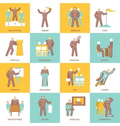 Leadership icons flat line vector image vector image