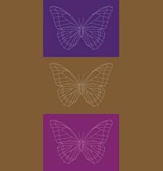 set of geometric linear butterflies vector image vector image