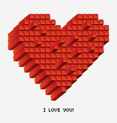A pixel heart in perspective vector