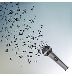 Abstract music background with notes and vector image