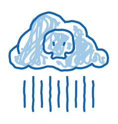 Acid rain earth problem doodle icon hand drawn vector