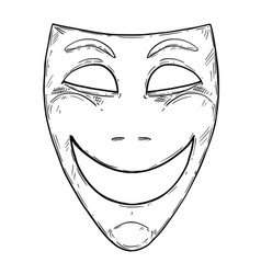 artistic drawing of happy smiling comedy mask vector image