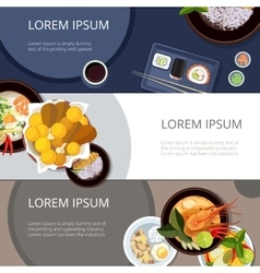 Asia food banners set Thai food japanese vector