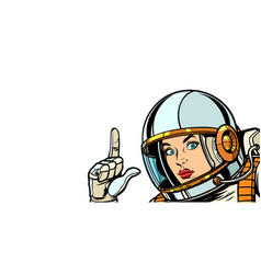 Astronaut woman pointing finger up isolate vector