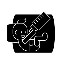 Baby with bottle icon sig vector