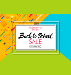 back to school banner design with lettering vector image
