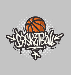basketball themed hand drawn brush lettering vector image