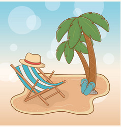 beach with chair travel vacations scene vector image