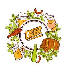 beer label banner emblem design with round frame vector image