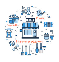 blue round farmers market concept vector image