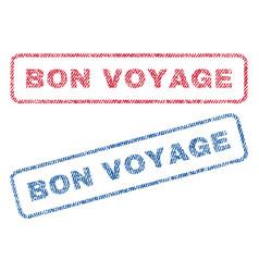Bon voyage textile stamps vector