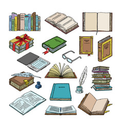 books stack textbooks and notebooks on vector image