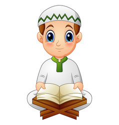 Boy read quran the holy book of islam vector