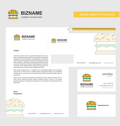 burger business letterhead envelope and visiting vector image