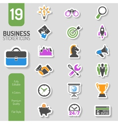 Business Strategy Icon Sticker Set vector image