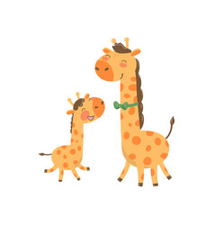 Cartoon animal family portrait father giraffe vector