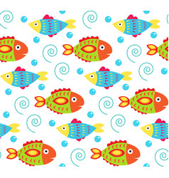 Cartoon bafish seamless pattern cute fish vector