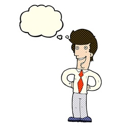 cartoon happy man with thought bubble vector image vector image