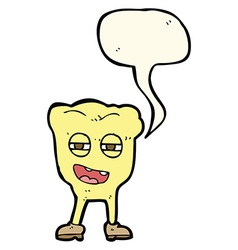 Cartoon rotten tooth character with speech bubble vector