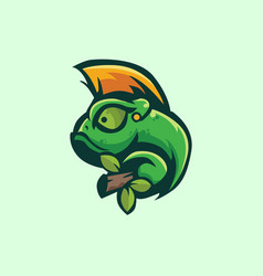 Chameleon logo image template vector