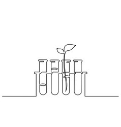 chemical lab retorts with sprout of plant vector image