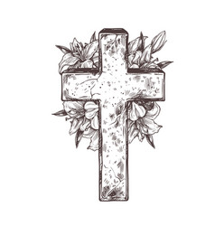 christ stone crosse with wreath white flowers l vector image