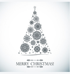 christmas card white tree snowflake square form vector image