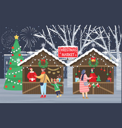 christmas fair or market people prepare for xmas vector image