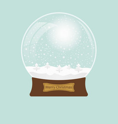 christmas transparent snowglobe with tree eps 10 vector image