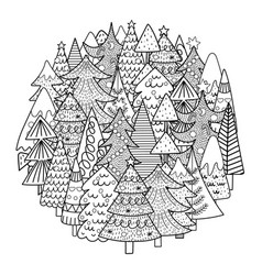 christmas trees circle shape pattern for coloring vector image