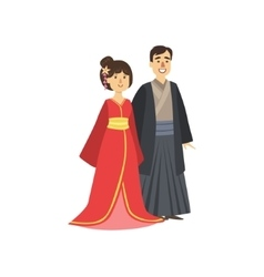 Couple In Japanese National Clothes vector image