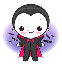 Cute dracula character orders halloween day vector
