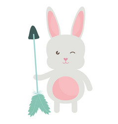 cute little rabbit with arrows and feathers vector image