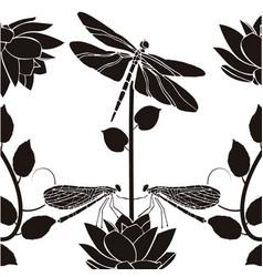 Design element flourishes dragonflies vintage vector