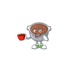 Dish baked beans with cartoon drinking in cup vector