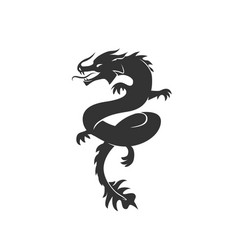 dragon silhouette black and vector image